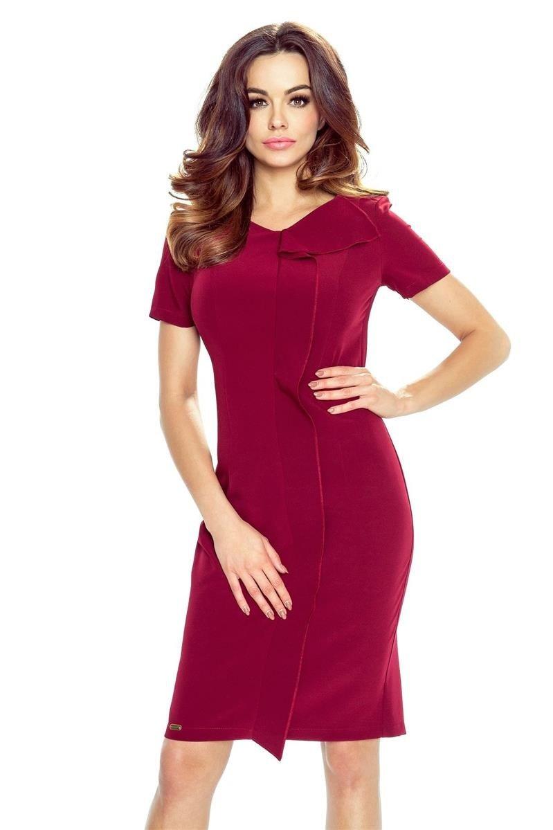 ac98c9be0d Bergamo ESTERA – elegancka sukienka z falującą plisą bordo - Merg.pl
