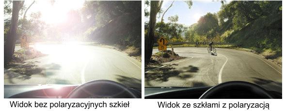 okulary polaryzacyjne zapewniają bezpieczeństwo podczas jazdy samochodem